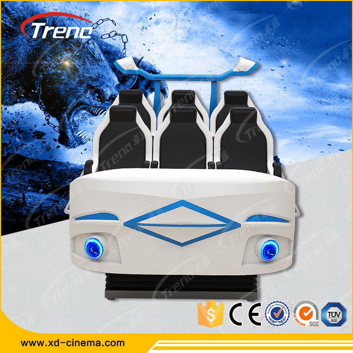 Amusement Roller Coaster 9D Virtual Reality Simulator Six Seats For Auto Show